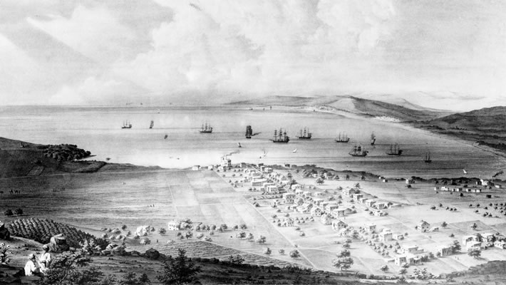 This print shows Haifa around the time that Bahá'u'lláh made three visits, between 1883 and 1891.