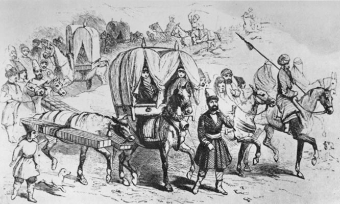 Drawing of a kajavih (howdah), a common mode of travel in Iran in the mid-1800s.