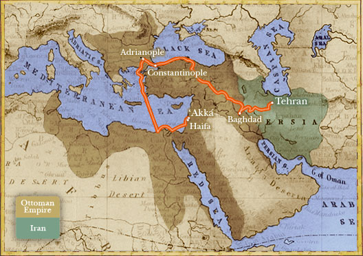 Map with overlay depicting the approximate boundaries of Iran and the Ottoman Empire in 1850 and the route of Bahá'u'lláh's forced exile from His home in Tehran to the prison city of 'Akká.