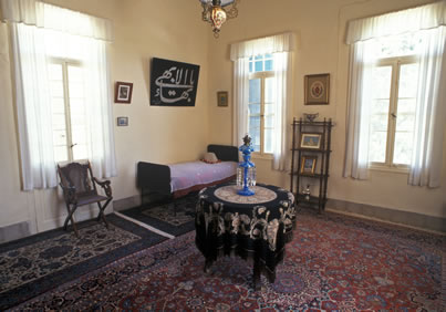 Interior of the room of Bahá'u'lláh at Mazra'ih.