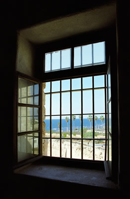 A view from one of the restored prison cells occupied by the exiles.